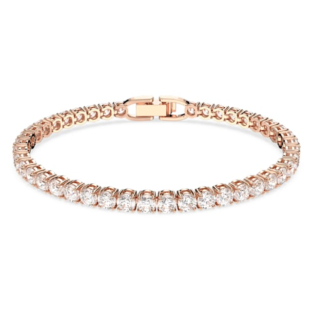 Tennis Deluxe Bracelet, White, Rose-gold tone plated - Swarovski, 5513400