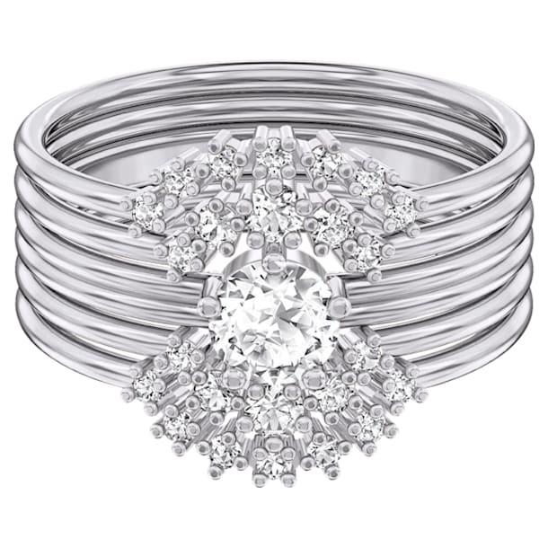 Moonsun Ring Set, White, Rhodium plated - Swarovski, 5513973