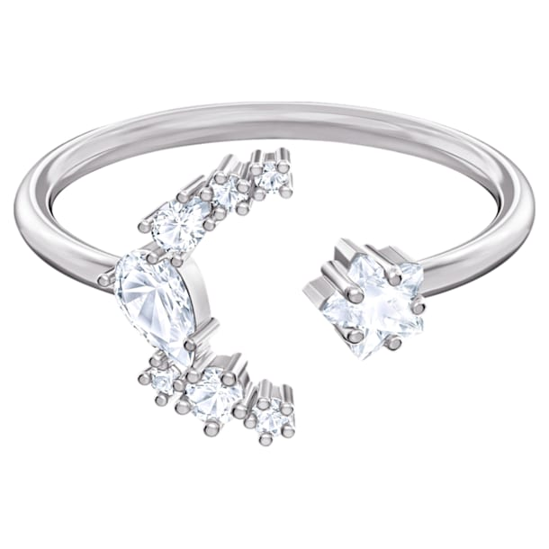 Moonsun Open Ring, White, Rhodium plated - Swarovski, 5513982