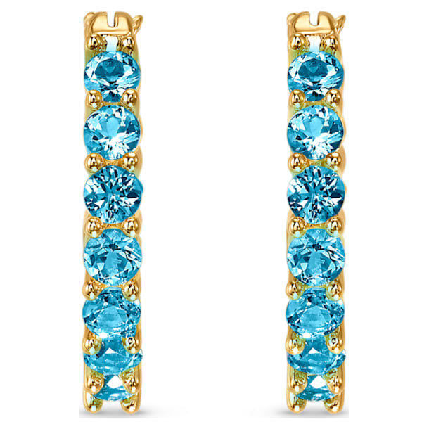 Vittore Hoop Pierced Earrings, Aqua, Gold-tone plated - Swarovski, 5514357