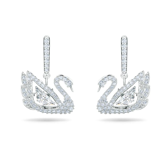 Dancing Swan Pierced Earrings, White, Rhodium plated - Swarovski, 5514420