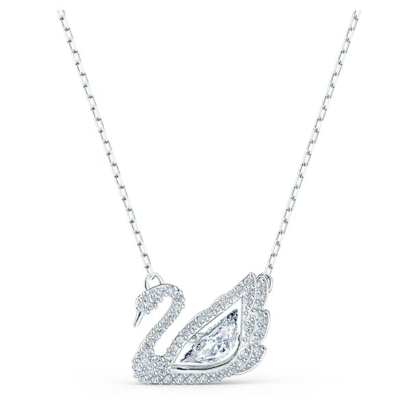 Dancing Swan necklace, Swan, White, Rhodium plated - Swarovski, 5514421