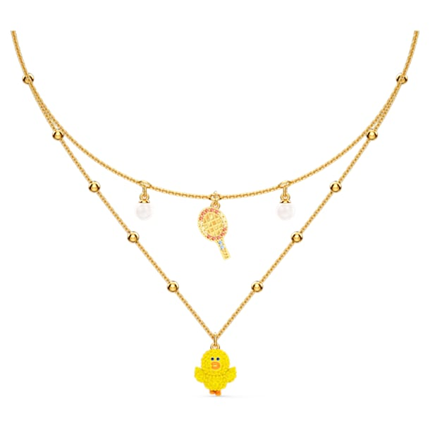 Line Friends Tennis Layered Necklace, Light multi-colored, Gold-tone plated - Swarovski, 5514436