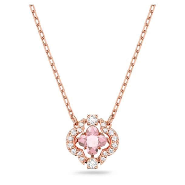 Swarovski Sparkling Dance Clover Necklace, Pink, Rose-gold tone plated - Swarovski, 5514488