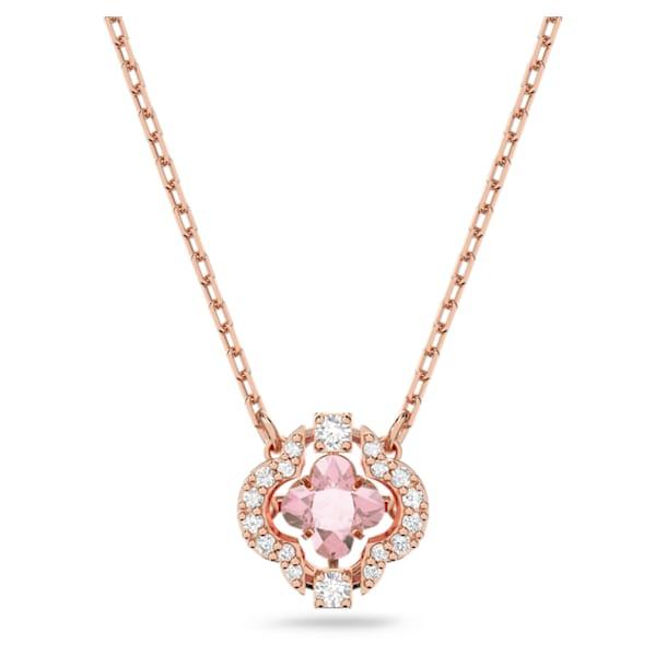 Swarovski Sparkling Dance necklace, Clover, Pink, Rose gold-tone plated - Swarovski, 5514488