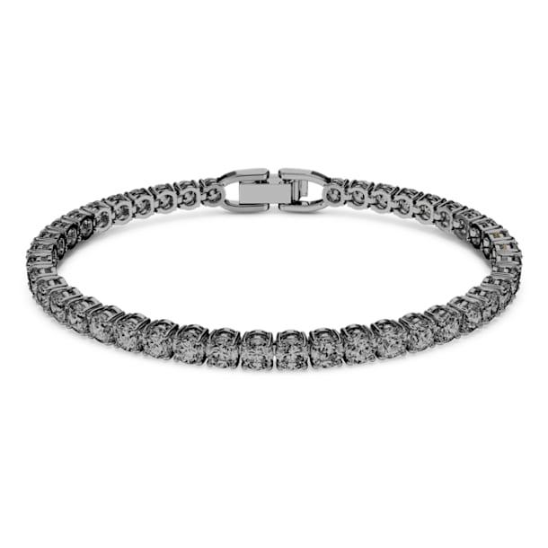 Bracelet Tennis Deluxe, Rond, Gris, Métal plaqué ruthénium - Swarovski, 5514655