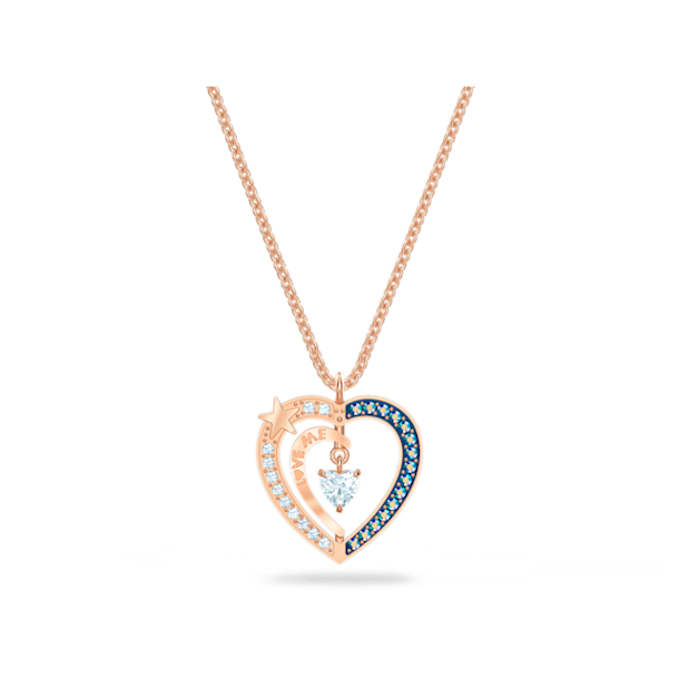 Starry Night necklace, Heart, Blue, Rose-gold tone plated - Swarovski, 5514670