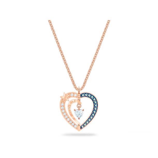 Starry Night Heart Pendant, Blue, Rose-gold tone plated - Swarovski, 5514670