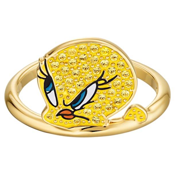 Prsten Looney Tunes s motivem Tweetyho, Žlutý, Pozlacený - Swarovski, 5514967
