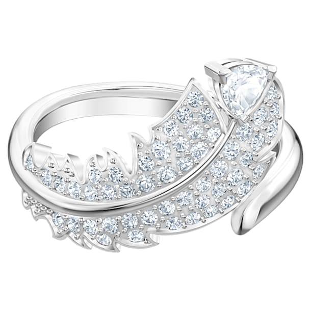 Nice motívumos gyűrű, fehér, ródium bevonattal - Swarovski, 5515029