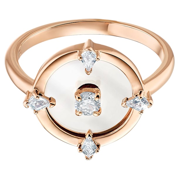 North Motif ring, 58, White, Rose-gold tone plated - Swarovski, 5515035