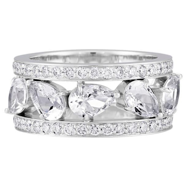 Lola Wide Band Ring, Swarovski Created Diamonds, 18K White Gold, Size 52 - Swarovski, 5515129