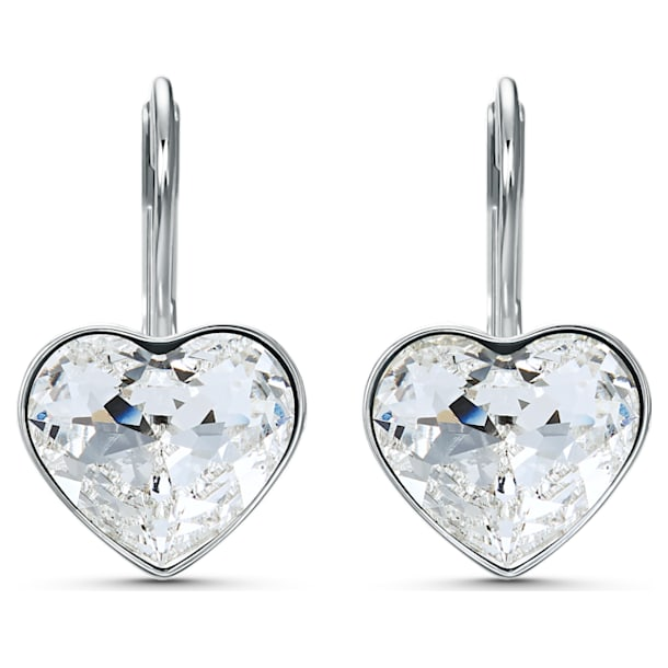 Bella Heart Pierced Earrings, White, Rhodium plated - Swarovski, 5515191