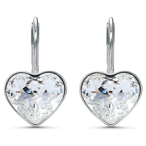 Bella earrings, Heart, White, Rhodium plated - Swarovski, 5515191