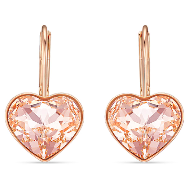 Bella Heart Pierced Earrings, Pink, Rose-gold tone plated - Swarovski, 5515192