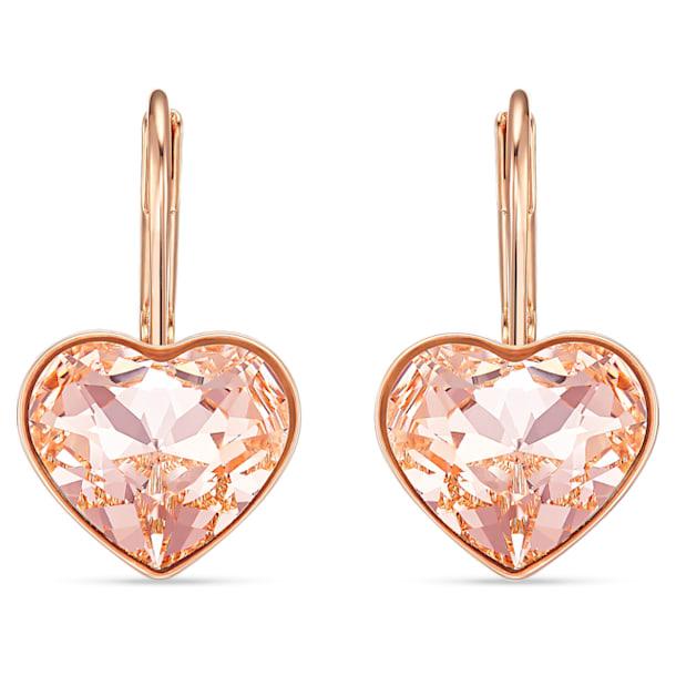 Bella Heart Pierced Earrings, Pink, Rose-gold tone plated - Swarovski, 5515192