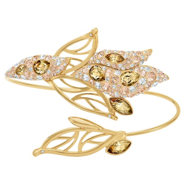 Graceful Bloom Cuff, Brown, Gold-tone plated - Swarovski, 5515400