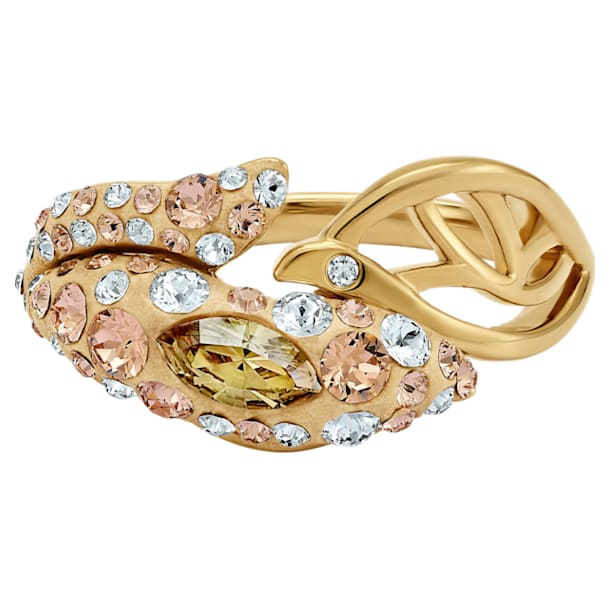 Graceful Bloom Ring, Brown, Gold-tone plated - Swarovski, 5515403
