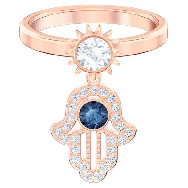 Anello con motivo Swarovski Symbolic, azzurro, Placcato oro rosa - Swarovski, 5515443