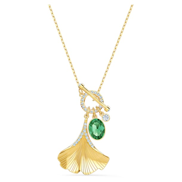 Stunning Gingko Necklace, Green, Gold-tone plated - Swarovski, 5515465
