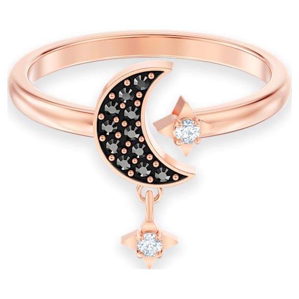 Ανοιχτό δαχτυλίδι Swarovski Symbolic, Φεγγάρι και αστέρι, Μαύρο, Επιμετάλλωση σε ροζ χρυσαφί τόνο - Swarovski, 5515668