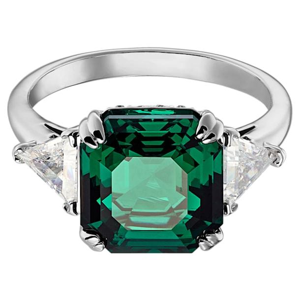 Anillo de cóctel Attract Trilogy, Cristal de talla cuadrada, Verde, Baño de rodio - Swarovski, 5515712