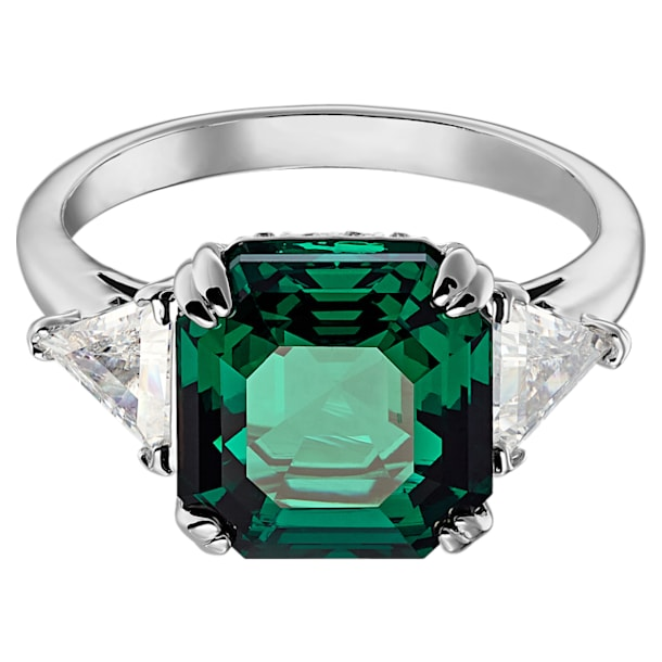 Attract Trilogy cocktail ring, Square cut crystal, Green, Rhodium plated - Swarovski, 5515712