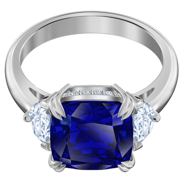 Attract Trilogy cocktail ring, Square cut crystal, Blue, Rhodium plated - Swarovski, 5515715