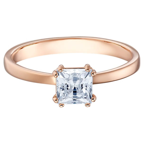 Attract ring, Square cut crystal, White, Rose gold-tone plated - Swarovski, 5515776