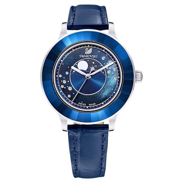 Octea Lux watch, Moon, Leather strap, Blue, Stainless steel - Swarovski, 5516305