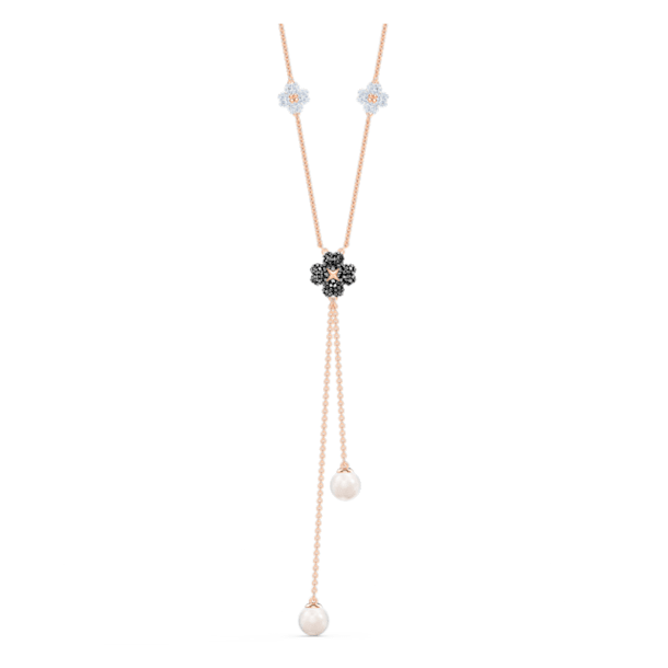 Latischa Y-vormige ketting, Zwart, Roségoudkleurige toplaag - Swarovski, 5516428