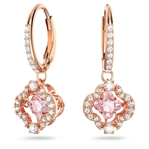 Swarovski Sparkling Dance earrings, Clover, Pink, Rose gold-tone plated - Swarovski, 5516477