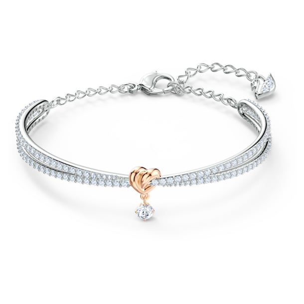 Lifelong Heart Bangle, White, Mixed metal finish - Swarovski, 5516544