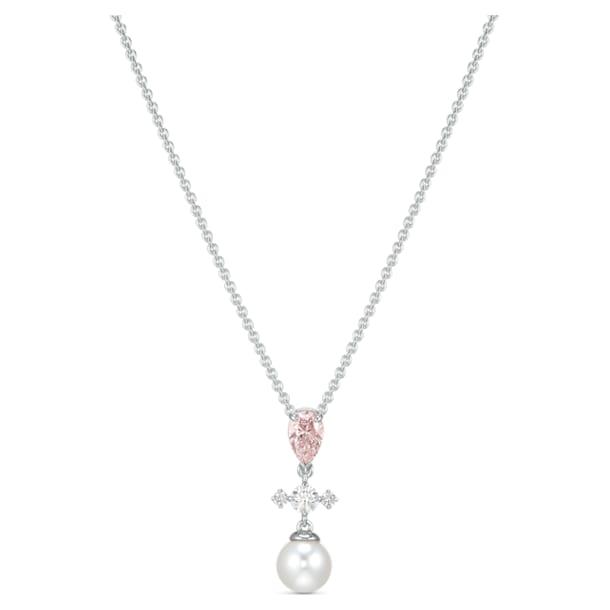 Perfection Necklace, Pink, Rhodium plated - Swarovski, 5516591
