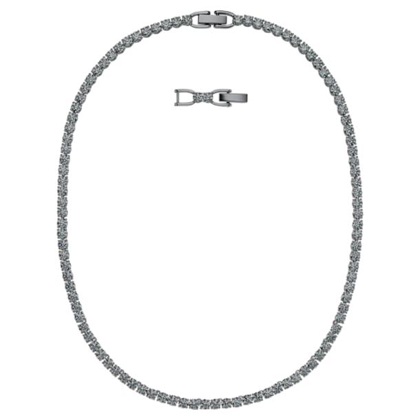 Tenisz Deluxe nyaklánc, fekete, ruténium bevonatú - Swarovski, 5517113