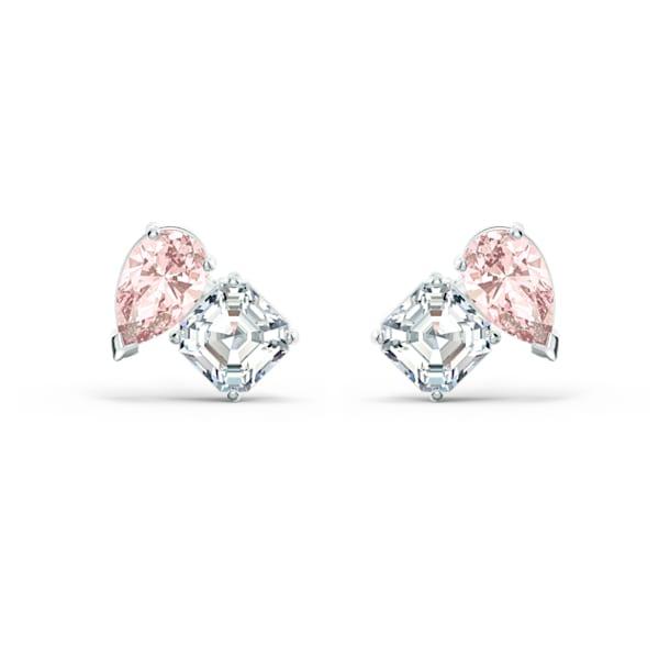 Attract Soul stud earrings, Pink, Rhodium plated - Swarovski, 5517118