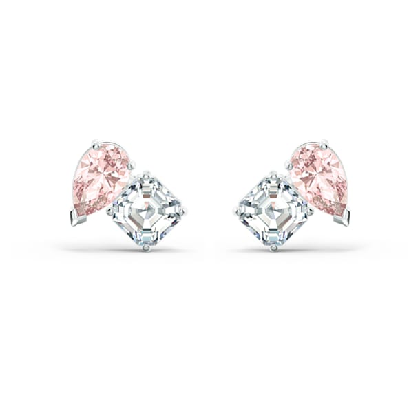 Attract Soul Pierced Earrings, Pink, Rhodium plated - Swarovski, 5517118