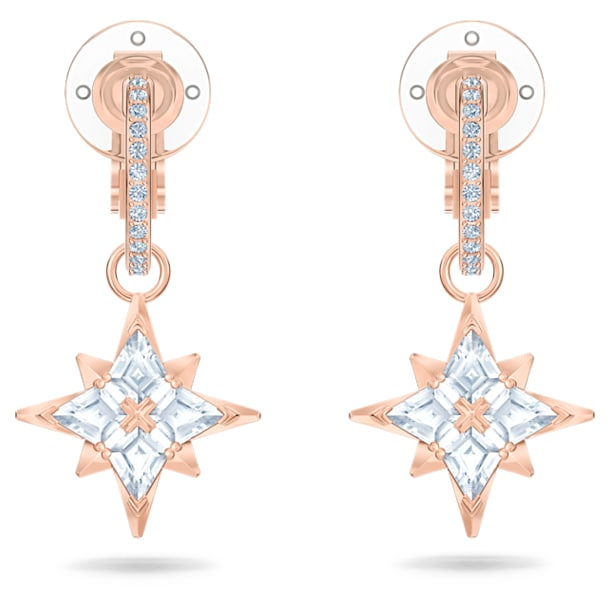 Swarovski Symbolic Clip Earrings, White, Rose-gold tone plated - Swarovski, 5517732