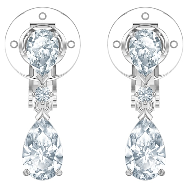 Palace 夹式耳环, 白色, 镀铑 - Swarovski, 5517733