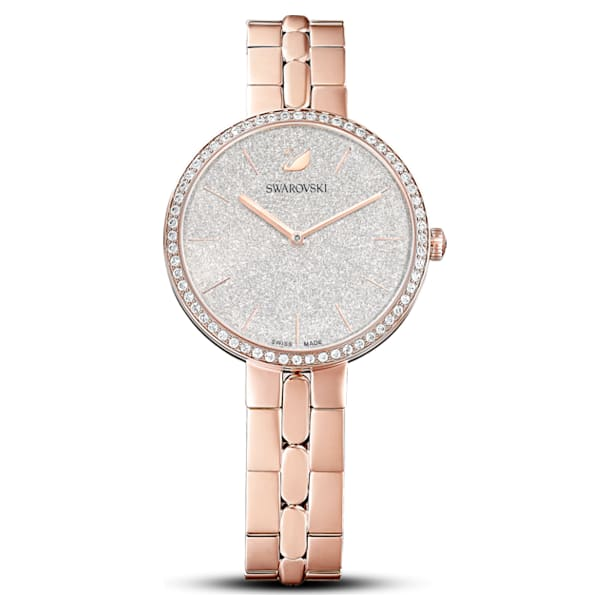 Cosmopolitan Watch, Metal bracelet, White, Rose-gold tone PVD - Swarovski, 5517803