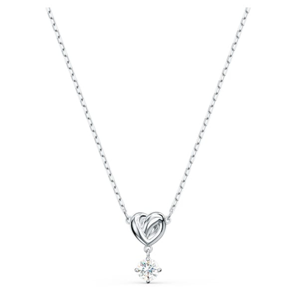 Lifelong Heart Pendant, White, Rhodium plated - Swarovski, 5517928