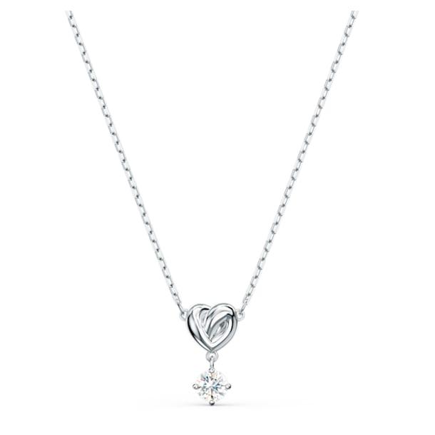 Lifelong Heart pendant, Heart, White, Rhodium plated - Swarovski, 5517928