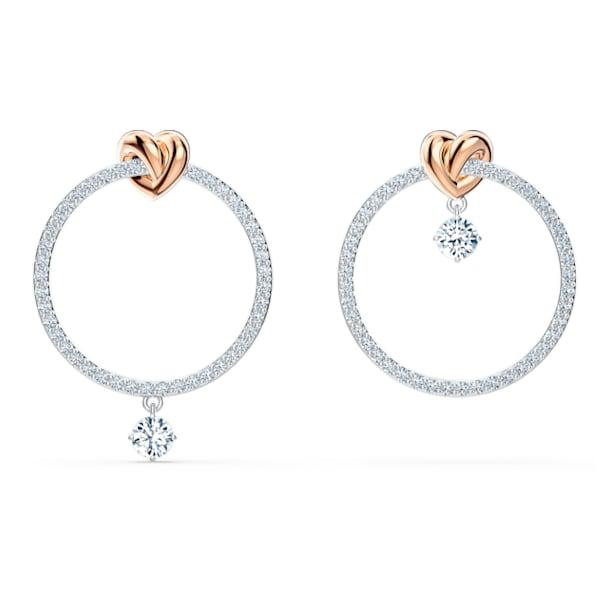 Lifelong Heart 大圈耳環, 非對稱, 心形, 白色, 多種金屬潤飾 - Swarovski, 5517933