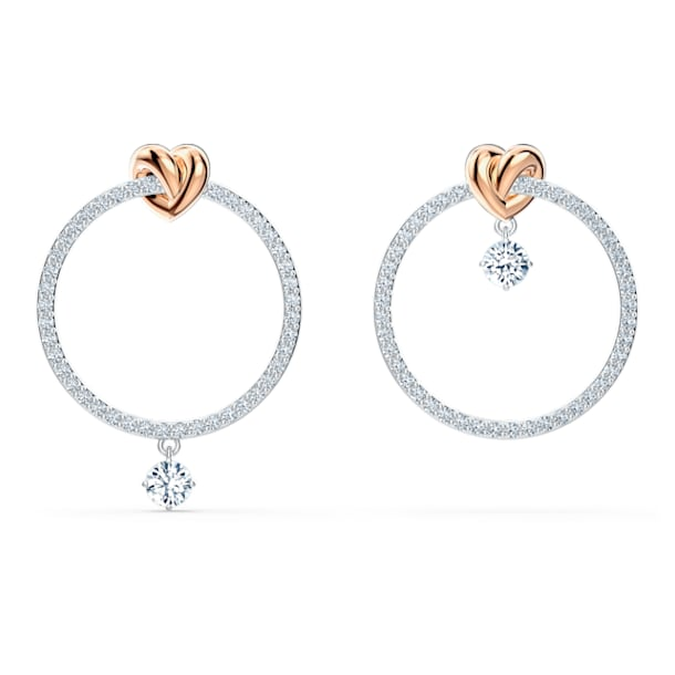 Lifelong Heart hoop earrings, Asymmetrical, Heart, White, Mixed metal finish - Swarovski, 5517933