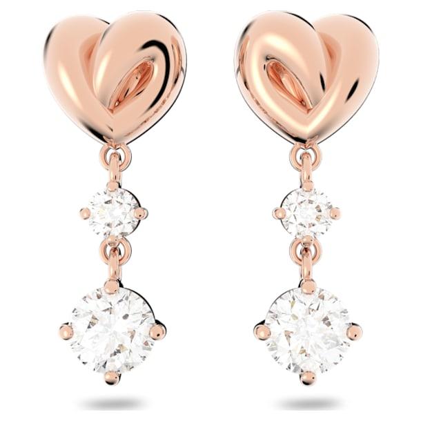 Náušnice Lifelong Heart, Srdce, Bílá, Pokoveno v růžovozlatém odstínu - Swarovski, 5517942