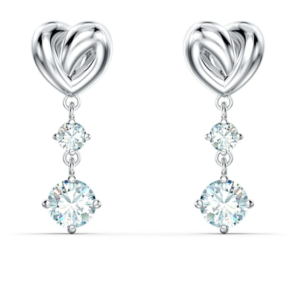 Lifelong Heart Pierced Earrings, White, Rhodium plated - Swarovski, 5517943