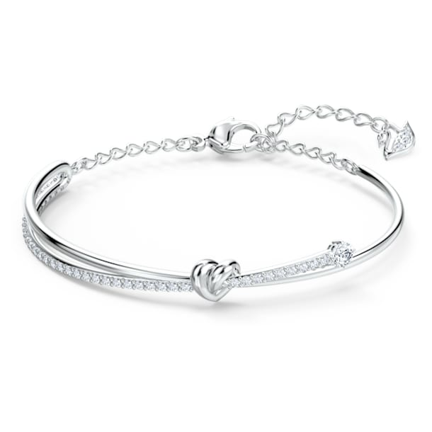 Lifelong Heart Bangle, White, Rhodium plated - Swarovski, 5517944