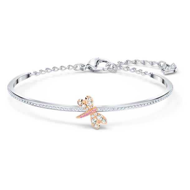 Eternal Flower bracelet, Dragonfly, Pink, Mixed metal finish - Swarovski, 5518138