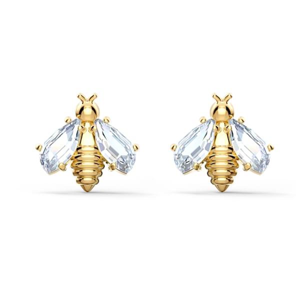 Eternal Flower Bee Pierced Earrings, White, Gold-tone plated - Swarovski, 5518143