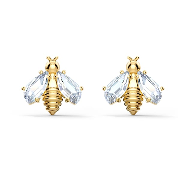 Pendientes Eternal Flower Bee, blanco, baño tono oro - Swarovski, 5518143